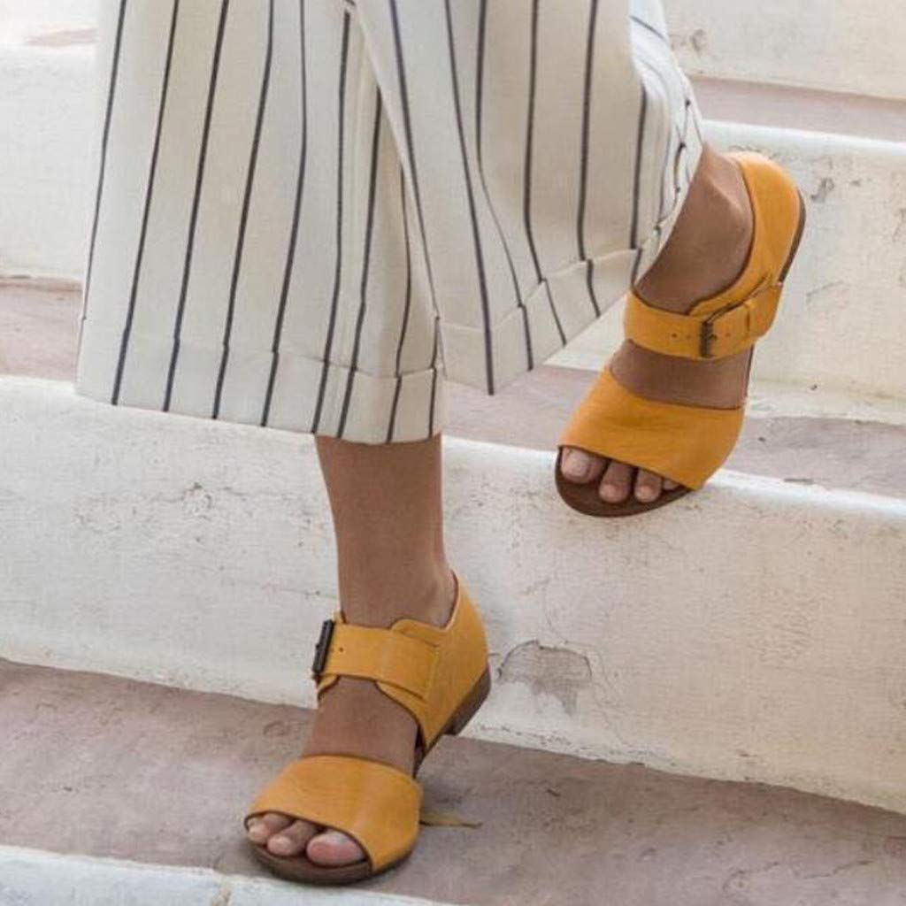 Women's Cute Open Toes One Band Ankle Strap Flexible Summer Flat Sandals Belt Buckle Sandals Flat Bottom Shoe Yellow by NIKAIRALEY Shoes (Image #2)