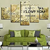 [LARGE] Premium Quality Canvas Printed Wall Art Poster 5 Pieces / 5 Pannel Wall Decor I Love You Painting, Home Decor Pictures - With Wooden Frame