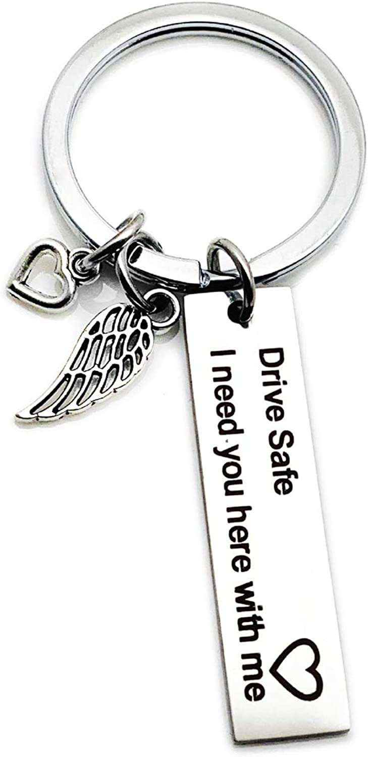 Type 1 Acier Inoxydable As Description Yinew Drive Safe Keychain Beau I Love You Mari Porte-cl/és Anneau Porte-cl/és Cadeau pour Amoureux et Ses Amis Thanksgiving Jour Cadeaux