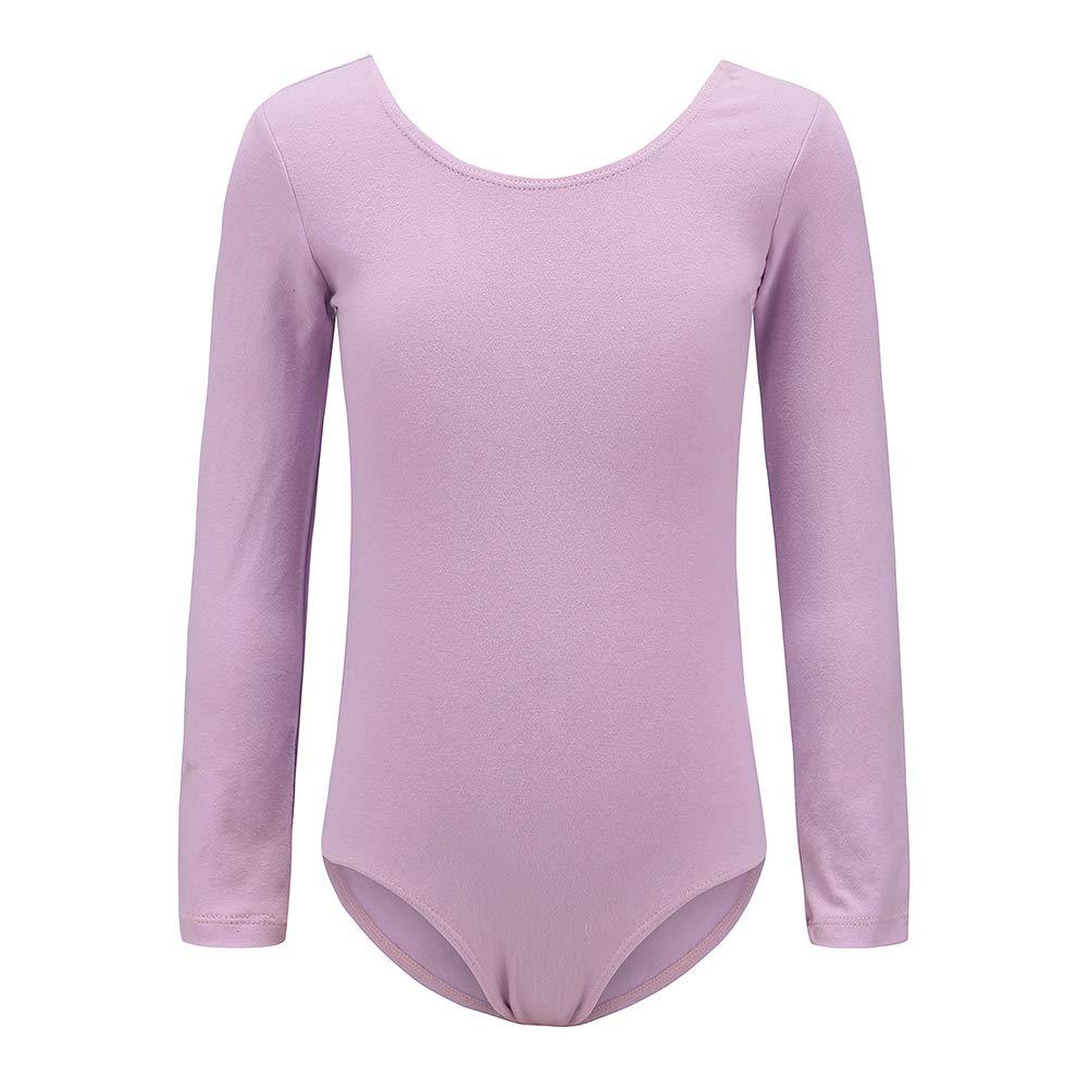 Ueiku Girls Team Basic Long Sleeve Ballet and Gymnastics Leotards Athletic Dancewear or Bodysuit for Toddlers