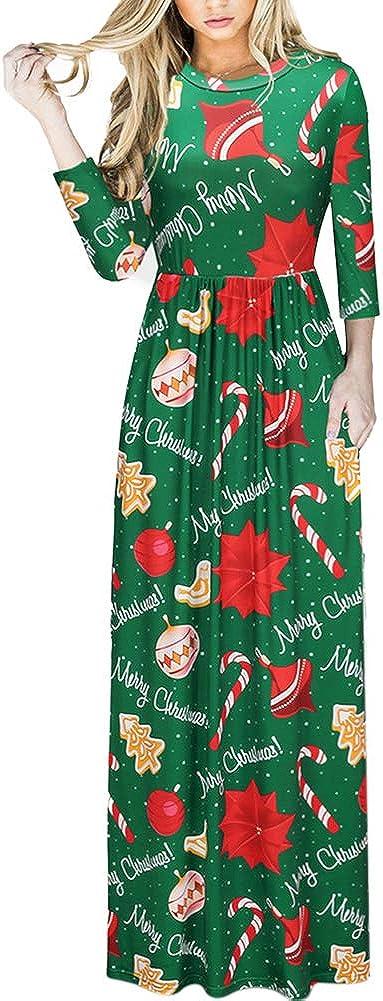 TALLA (EU46-48)XL. Lover-Beauty Vestido Largo Floral Print Casual para Noche Fiesta Playa Fiesta Manga Larga Cuello Redondo Vestido Verano Cuello V Verde Navidad (EU46-48)XL