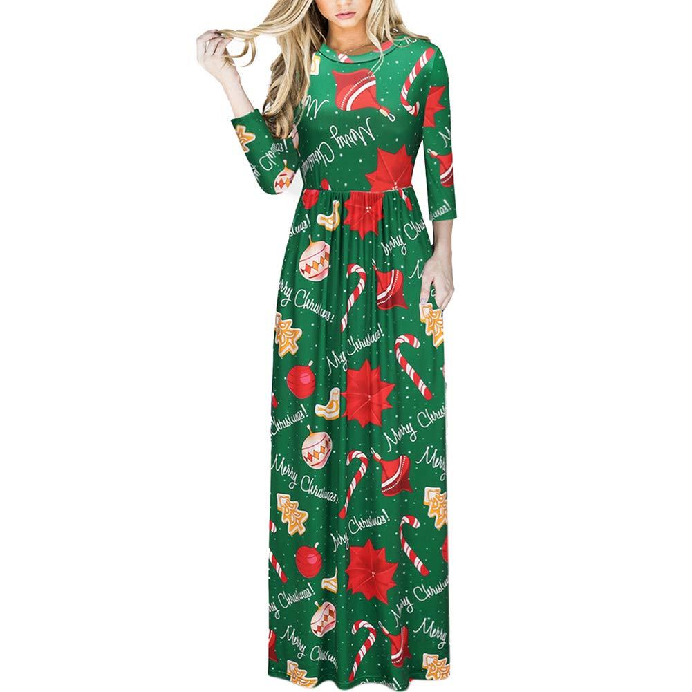 TALLA (EU48-50)XXL. Lover-Beauty Vestido Largo Floral Print Casual para Noche Fiesta Playa Fiesta Manga Larga Cuello Redondo Vestido Verano Cuello V Verde Navidad (EU48-50)XXL