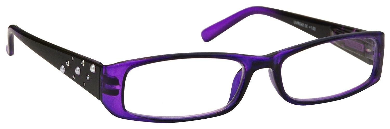 La Compañía Gafas De Lectura Púrpura y Negro Faux Diamonte y Pearls Lectores Mujeres Señoras Inc Cas...