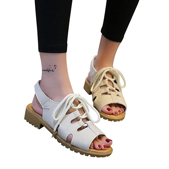 OYSOHE Damen Sandalen Sommer Vintage Frauen Breathable Wedges Anti Skidding Strand Schuhe Banding AntiRutschFisch...