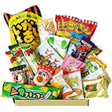 Happy Dagashi Box 20pcs ver.2 Japanese Candy assortment Umaibo Snack potato Chip Gumi Squid chocolate w/ AKIBA KING Sticker