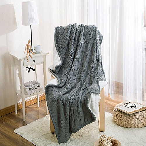 Eco-friendly Crochet Cable Blanket Super Soft Warm Knitted Throw Cover bed quilt Rug for Living Room/Car/Bedroom /Sofa/Bed /Couch /Office Adult and Kids Resting Relaxing (47×70 Inches, (Spider Man Edge Of Time All Costumes)
