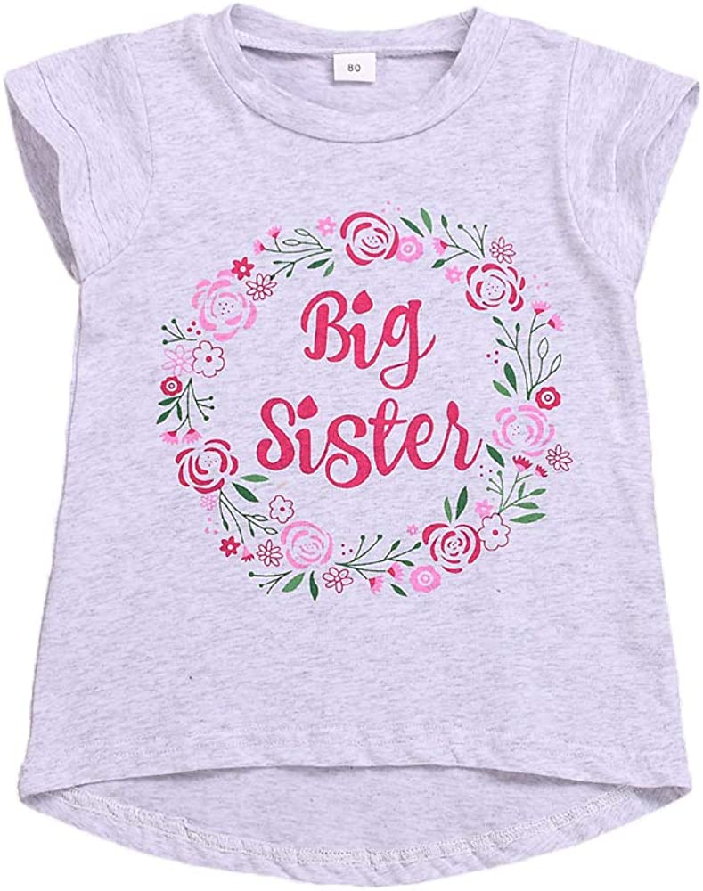 Kyandii Promoted to Big Sister Again Floral Flower New Baby Announcement Short-Sleeve Unisex T-Shirt