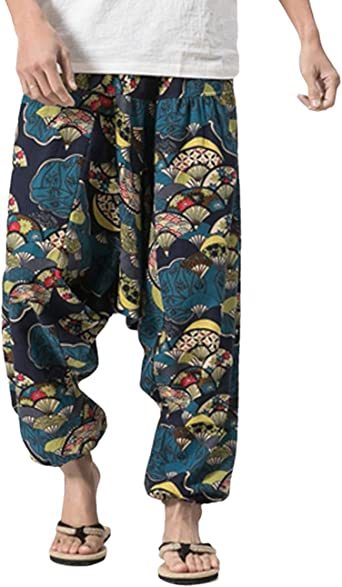 Besbomig Pantalones Bombacho Hombre Mujer Unisex Haren Aladdin Hippy Pantalones Baggy Hippie Boho Yoga Wideleg Pantalones Para Hombres Pantalones