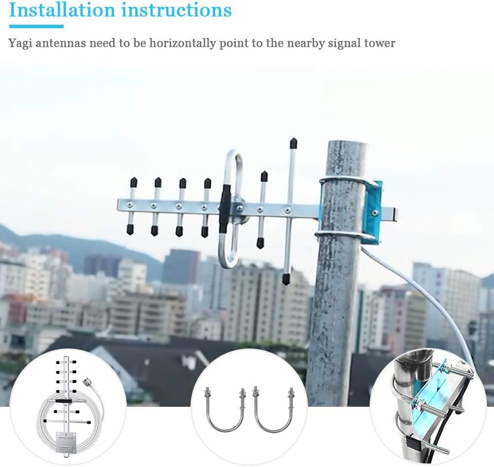Antena Yagi para Amplificador de señal Celular Repetidor, señal Dual, Banda 2G 3G 4G 7/9 dBi, Antena 4g Exterior, 10 m de Cable RG58 con Conector N ...