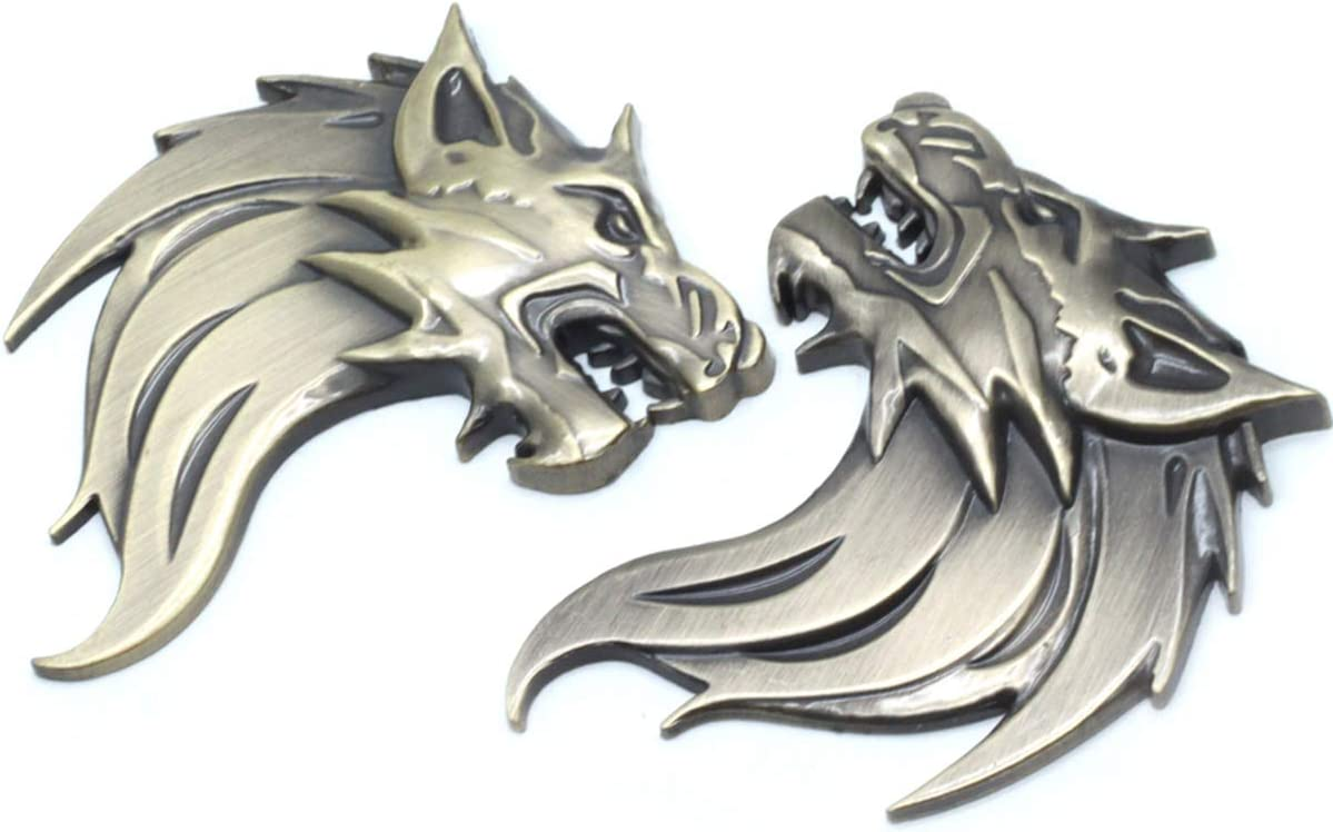 AUTUT 2 Pcs//Pair Gold 3D Self-Adhesive Cool Wolf Head Car Side//Rear//Front Decorations Emblem Badge Nameplate Sticker for Car