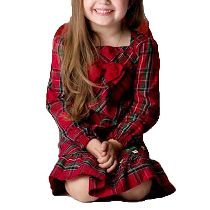 Spanish Kids Girls Red Blouse Tartan Dress Headband Bow Princess Ball Gown Party
