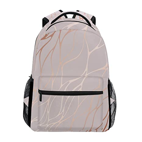 8b51ae0c473b Image Unavailable. Image not available for. Color  WXLIFE Abstract Rose  Gold Marble Design Backpack Travel School Shoulder Bag for Kids Boys Girls  Women