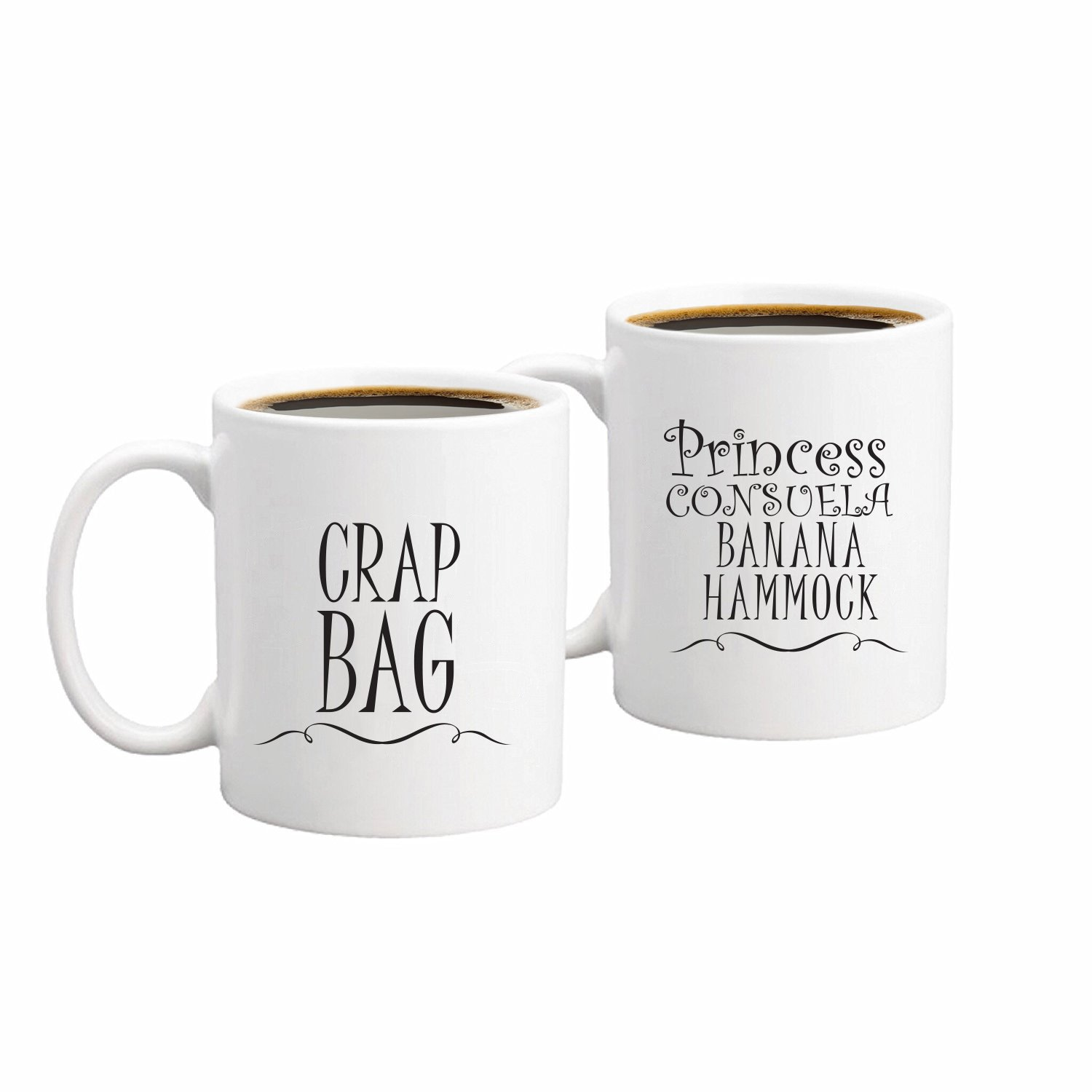 Princess Consuela Banana Hammock & Crap Bag Couples Funny Coffee Mug Set 11oz - Friends TV Show Quote - Central Perk - Unique Gift For Boyfriend and Girlfriend - His and Hers Anniversary Present by Gelid (Image #1)