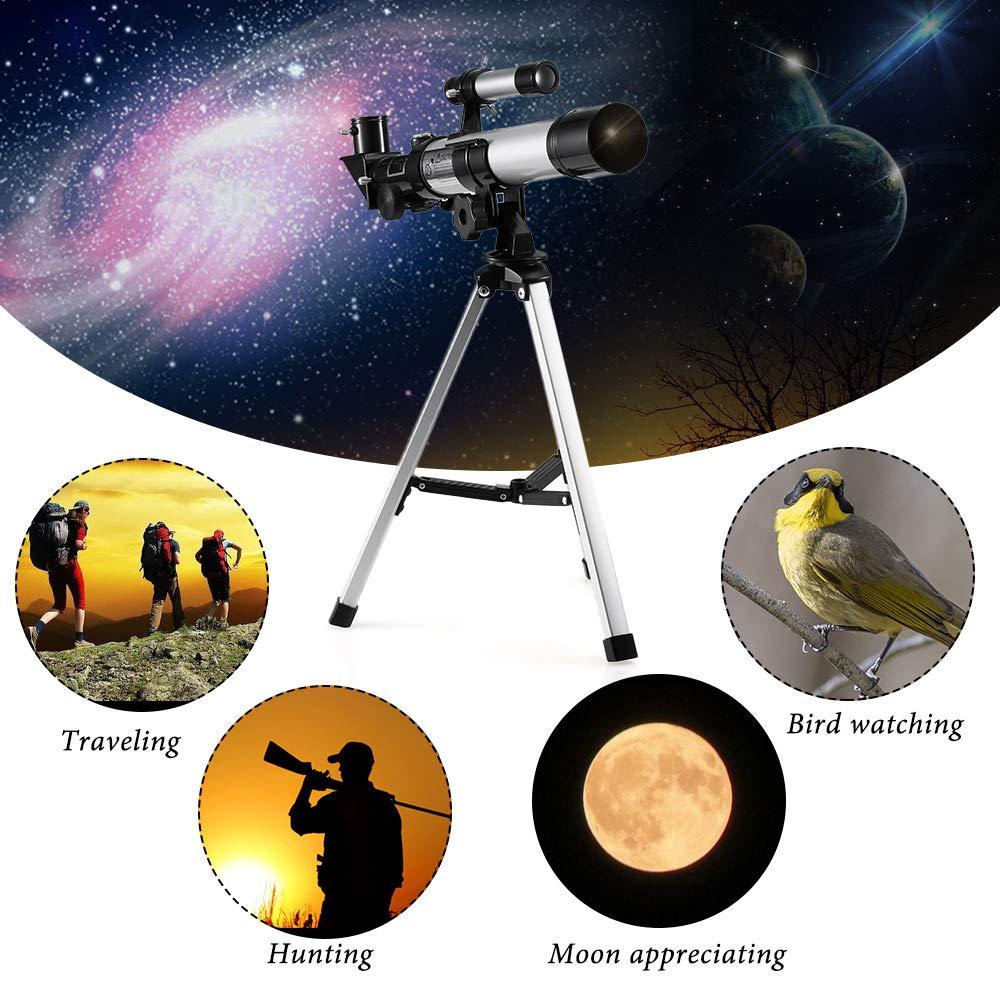 Lixada Telescopio Astronómico de Espacio Espacio Espacio Refractivo Portátil Al Aire Libre 32X Telescopio de Viaje con Brújula para Estudiantes, Niños y Principiantes e09074