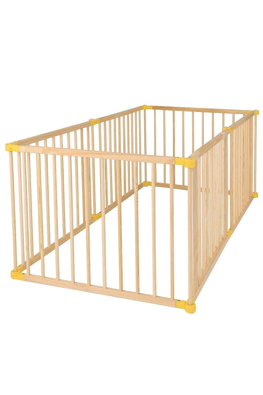 dibea DP00585 Holz Laufstall für Baby und Kleinkind, Laufgitter mit Tür, 270° klappbar und vormontiert, 4 Elemente je 90 x 68 cm, braun Laufgitter mit Tür dibea GmbH & Co. KG