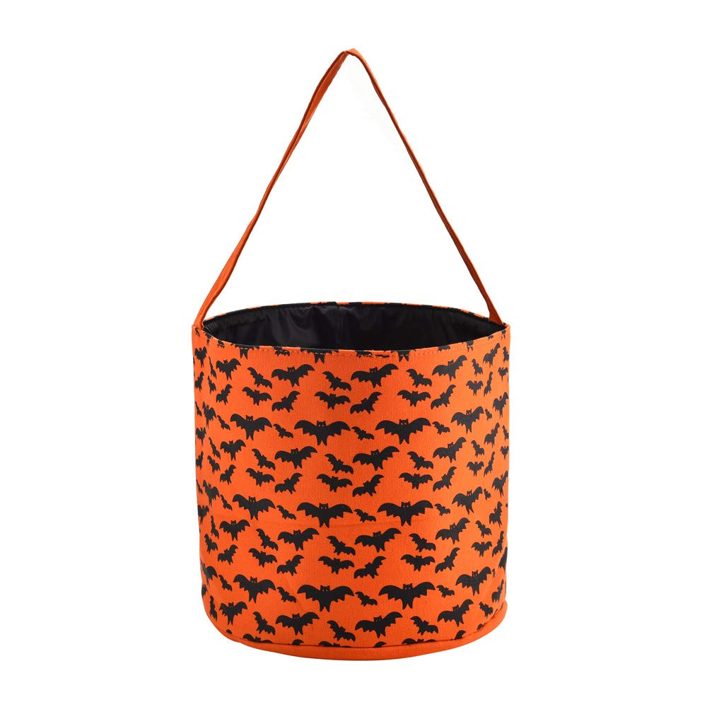 X.Sem Halloween Bucket - 100% Halloween Candy Basket - Halloween Party Supplies - Trick or Treat Bucket Tote for Kids (Bat) X.Sem Factory