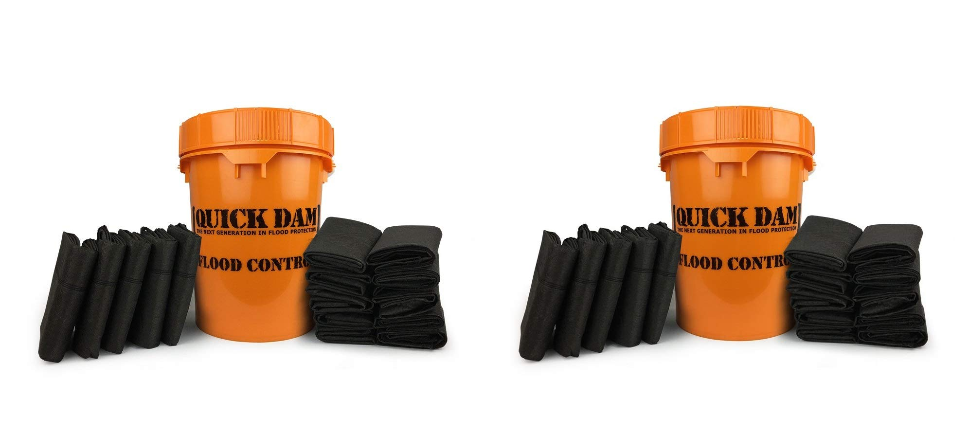 Quick Dam Grab & Go Flood Kit Includes 5-5ft Flood Barriers & 10-2ft Flood Bags in Bucket (Pack of 2)