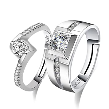 b6ca859e349 Freessom Bague Amoureux 2pcs Femme Homme Argent 925 Coeur Infini Reglable  Fine Diamant Zirconium Ajustable Originale