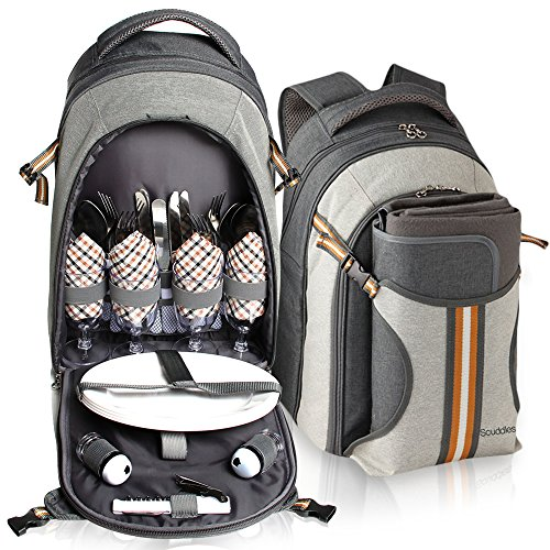 Picnic Backpack - Scuddles 4 Person Set With Insulated Cooler Pouch keeps food Hot/Cold for 12 Hours 2018 Upgraded For Family Outdoor Camping Gatherings