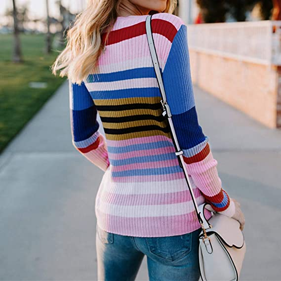 Amazon.com: Sunhusing Womens Long Sleeve Colorful Striped Casual Loose Knitted Sweater Pullover Top: Clothing