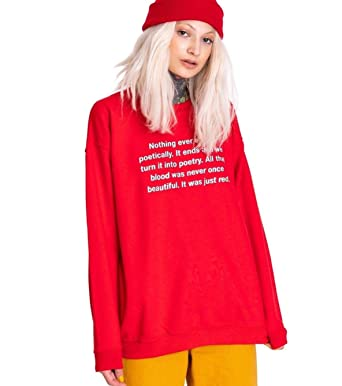 1fcf2d2726 Poetry Sweater Jumper Sweatshirt Top Women's Tumblr Grunge Hipster Fashion  Vintage Poem Retro at Amazon Women's Clothing store: