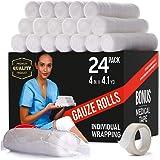 Premium Gauze Bandage Roll - 24 Pack - Gauze Roll (4 inches x 4.1 Yards) - Latex Free Rolled Gauze - Gauze Wrap + Bonus…