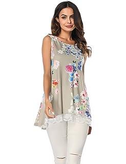 d3c3884bf9c5 YOUCOO Women Summer Sleeveless Shirt Casual Print Flowy Tunic Tank Top