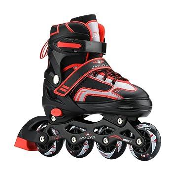 Sunkini Patines clásicos Patines de carreras ajustables para hombres Botas de ruedas Monopatín retráctil Zapatillas de rodillos con cojinetes ABEC-9 para ...