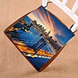Custom Cityscape Manhattan Brooklyn Bridge New York City Skyline Seat Cushion Chair Cushion Floor Cushion Twin Sides 20x20 inches