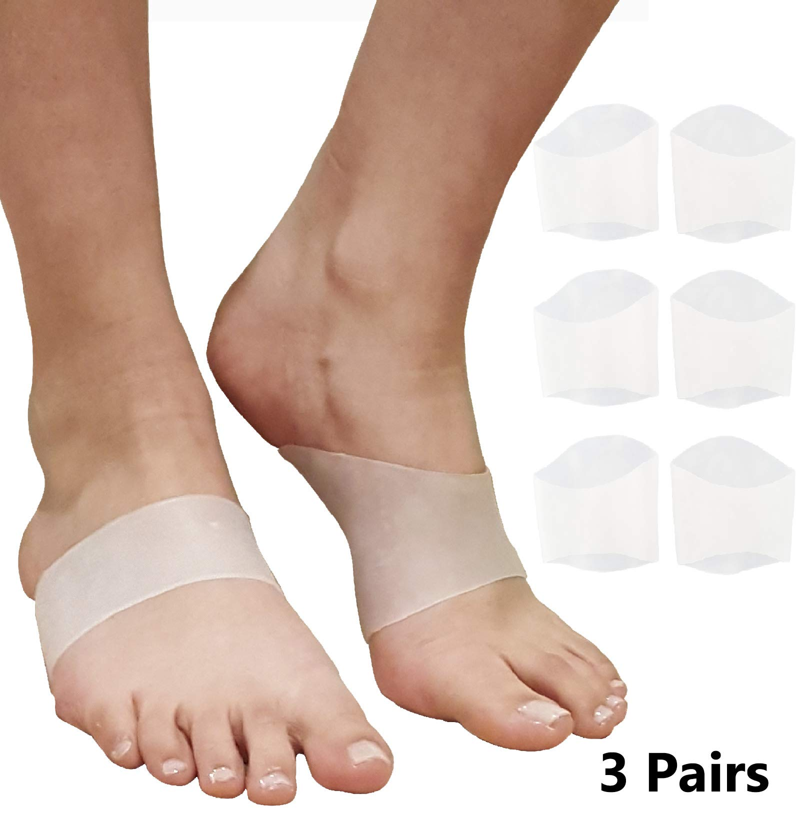 Plantar Fasciitis Arch Support Inserts - Gel Cushion Insoles for Flat Feet, High or Fallen Arches. Reduce Foot & Heel Pain Fast. Comfortable Padded Compression Sleeves Fascia Insert Braces (3 Pairs)
