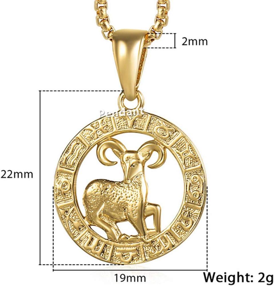 SHUX Halskette Männer Frauen Sternzeichen Gold Anhänger
