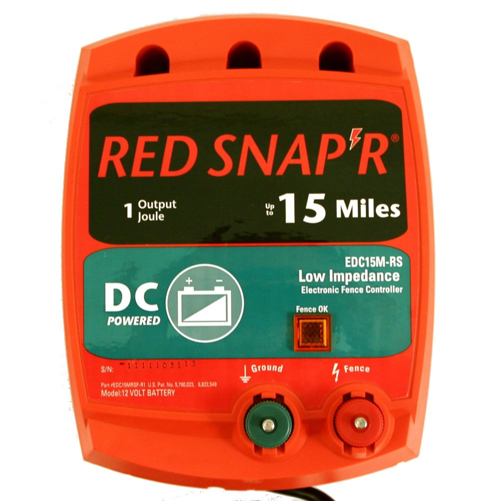 Red Snap'r EDC15M-RS 15-Mile Battery Operated Low Impedance Fence Charger by RED SNAP'R