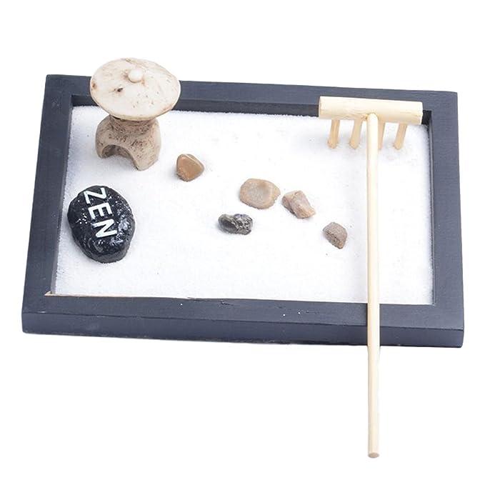 MagiDeal Decoración Hogar Conjunto de Bandeja India Buddha Quemador Piedra Guijarros Rastrillo para Zen Jardín Arena - #1