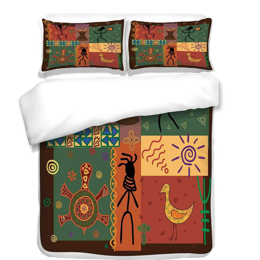 iPrint 3Pcs Duvet Cover Set,Primitive,Funky Tribal Pattern Depicting African Style Dance Moves Instruments Spiritual,Multicolor,Best Bedding Gifts for Family/Friends