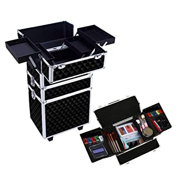 Amazon.com : Qivange 3 in 1 Aluminum Makeup Train Case Trolley ...