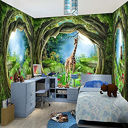 . LWCX Forest Tree Animal House Theme Murals 3D Wallpaper Children