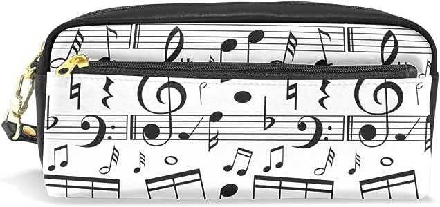 Estuche para lápices de estudiantes, diseño de balanza de música, color negro, de poliuretano, organizador de bolígrafos, estuche para mujer, cartera impermeable, bolsa de maquillaje de gran capacidad: Amazon.es: Oficina y papelería