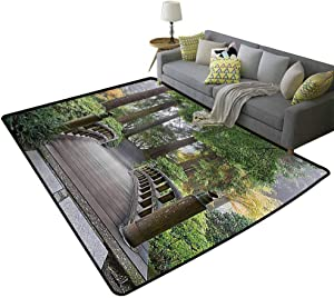 Apartment Decor Collection Contemporary Area Rugs Foggy Morning Wooden Bridge at Japanese Garden with Various Types of Trees in Autumn Feel Comfortable Beige Green, 6'x 8'(180x240cm)