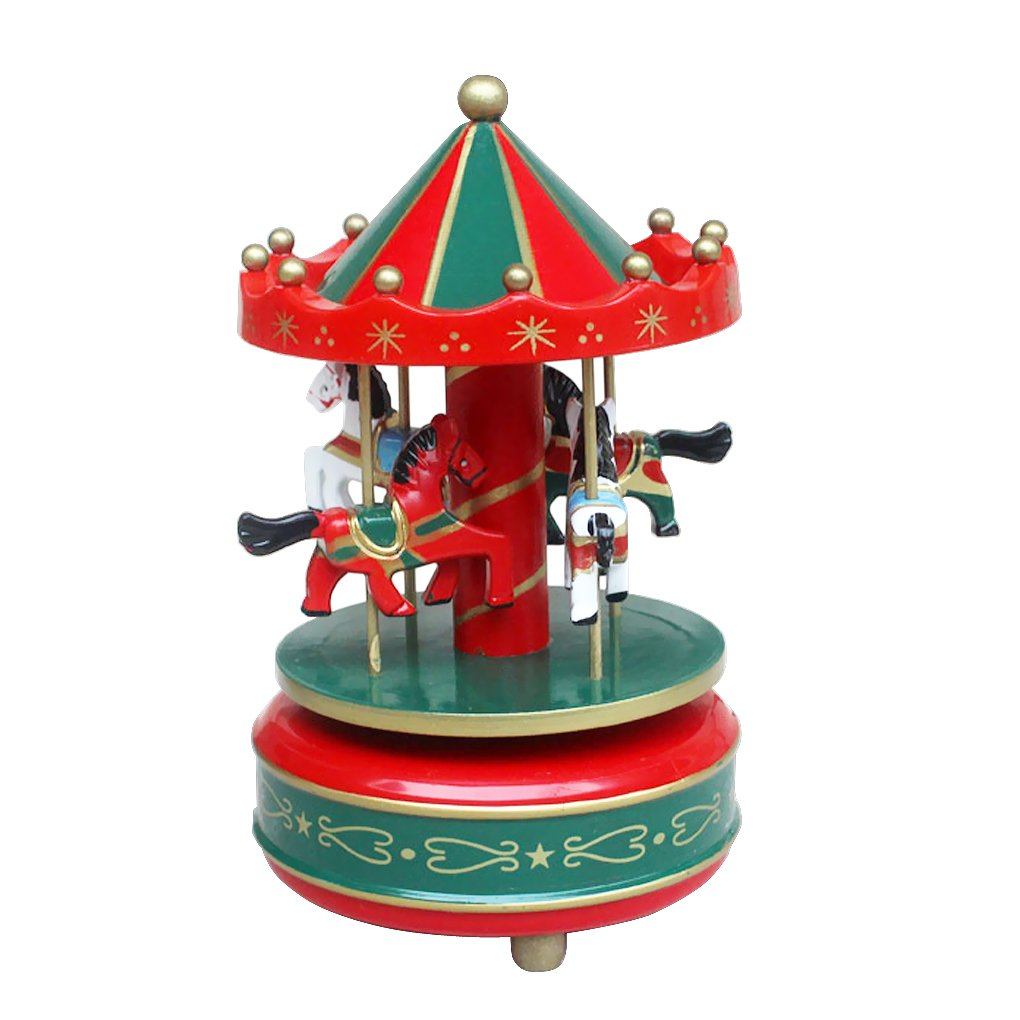 BXT Wooden Merry-Go-Round Musical Box 4-Horse Figurine Rotating Carousel Music Box Tune Castle in The Sky Great Kids Children Birthday Toy Collection Home Decoration Baixt Group
