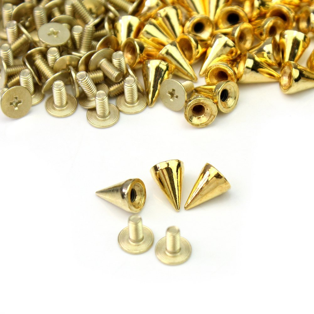 NYKKOLA 100pcs//set 9.5mm Silver Cone Spikes Screwback Studs DIY Craft Cool Rivets Punk