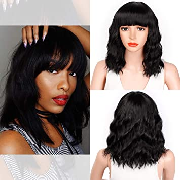 Gemilla Short Wavy Wigs With Air Bangs Shoulder Length Synthetic Cosplay Costume Wig 14 Inch, Grey