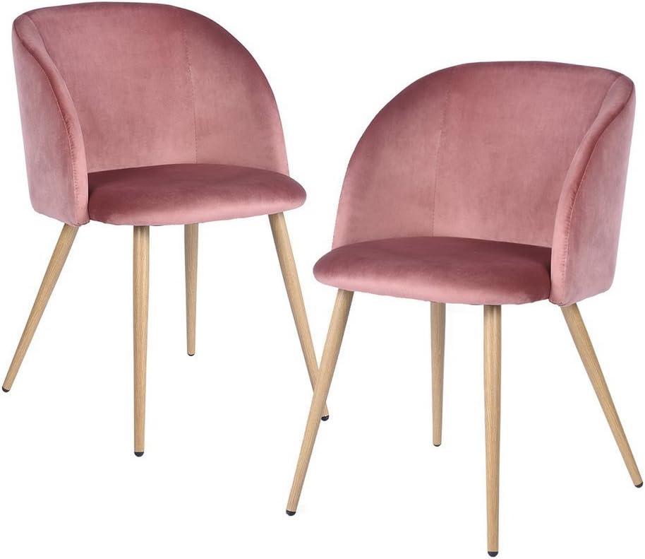 Pack de 2 Sillas de Comedor Soft Retro Velvet Cushion en Estilo Retro escandinavo,sillón con el Estilo de Madera Patas de Metal Resistente...