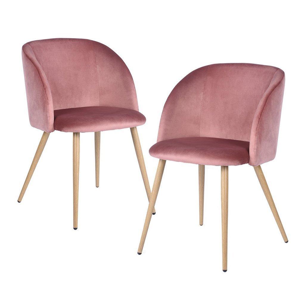 DORAFAIR 2 Sedie da Pranzo in Morbido Velluto, Seduta e Schienale Imbottiti con Gambe in Metallo Stile Legno Poltrona Velluto Vintage, Rosa Rossa