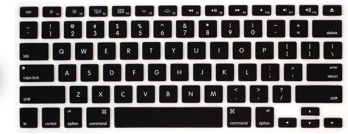 "YYubao Super Stretchy Silicone Keyboard Cover Skin Protector for MacBook Pro 13"" 15"" 17"" (with or Without Retina Display) MacBook Air 13"" and iMac (Fits US Keyboard Layout only) - Black"