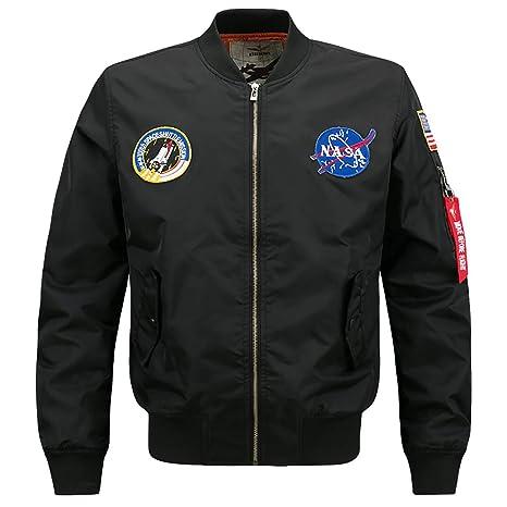 W&TT Chaquetas de Aviador para Hombres NASA MA-1 Flight ...