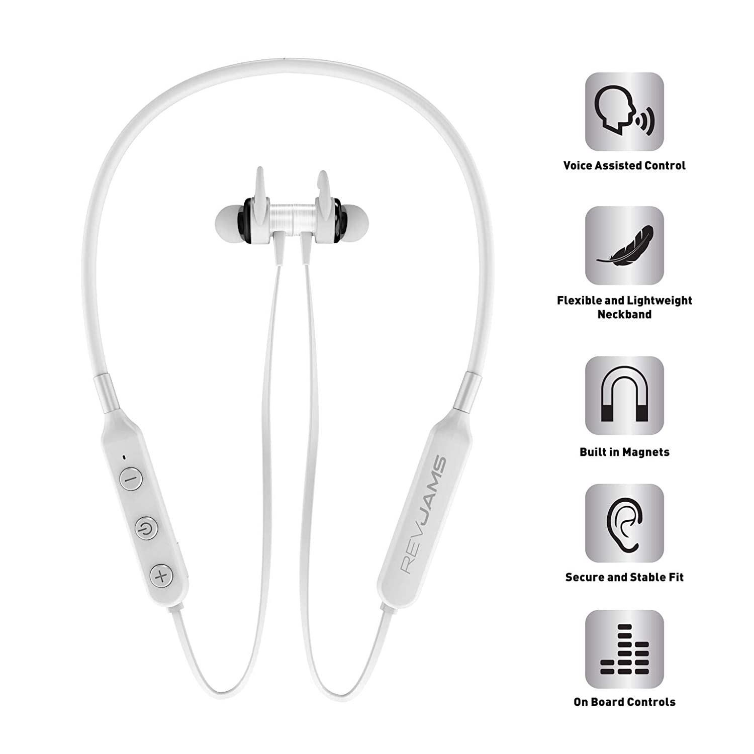 RevJams Studio Vue Wireless Sports Running Bluetooth Sweatproof Earbud Neckband Headphones for Apple Android Devices w 7 Hour Battery, Mic and Magnetic Earphones – White