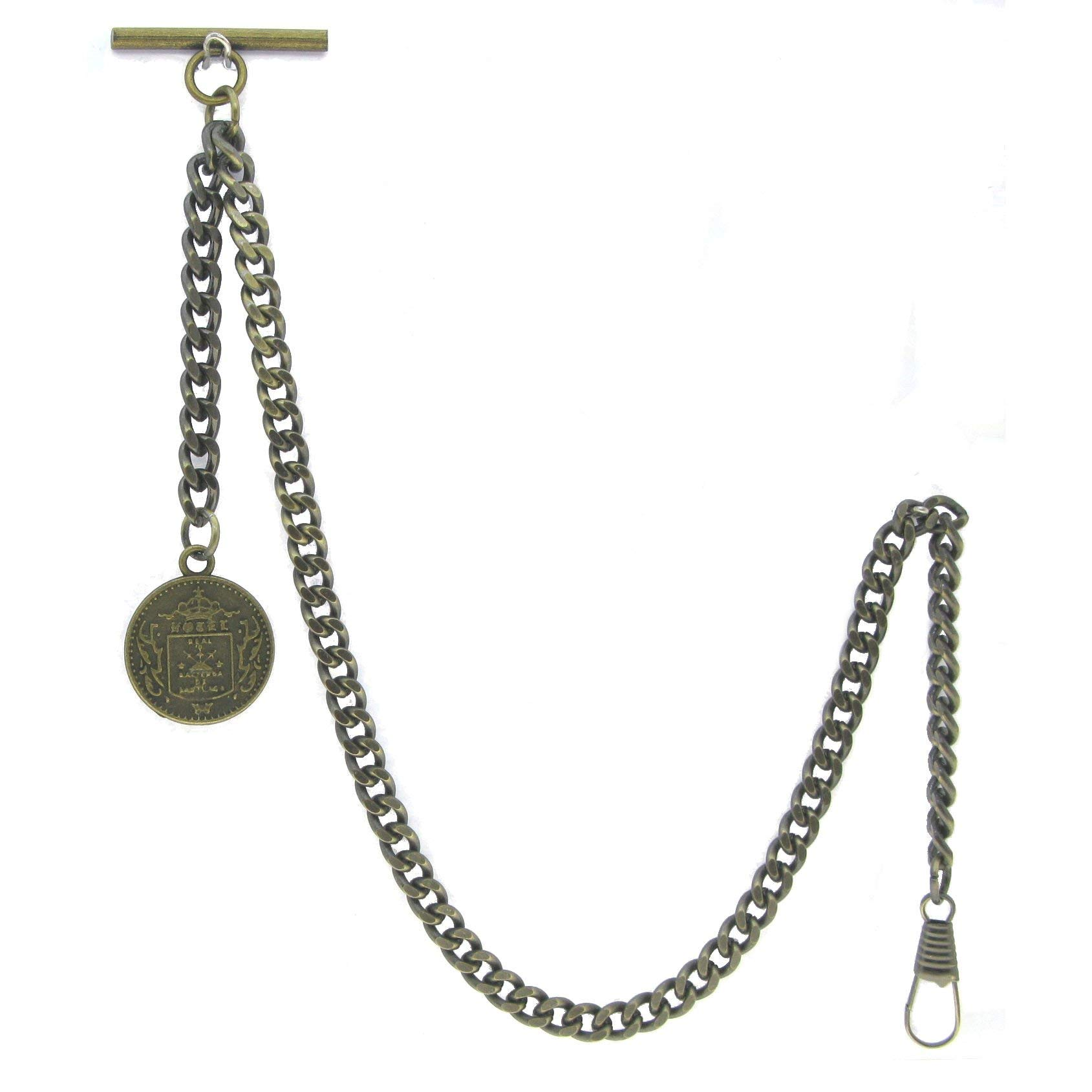 Albert Chain Pocket Watch Curb Link Chain Antique Brass Color Old Coin Design Fob T Bar AC94