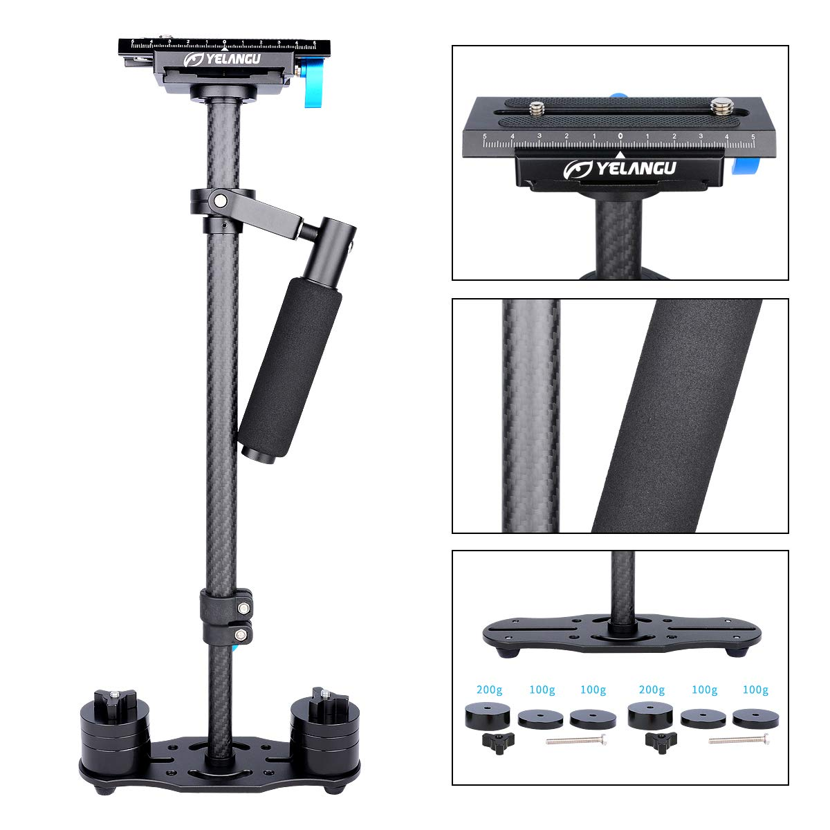 YELANGU Carbon Fiber 24''/60cm Handheld Stabilizer with 1/4'' and 3/8'' Screw for DSLR and Video Cameras up to 6.6lbs/3kg(Black) by YELANGU