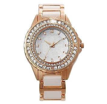 William 337 - Reloj de Cuarzo para Mujer, diseño de Diamante, Color Blanco: Amazon.es: Hogar