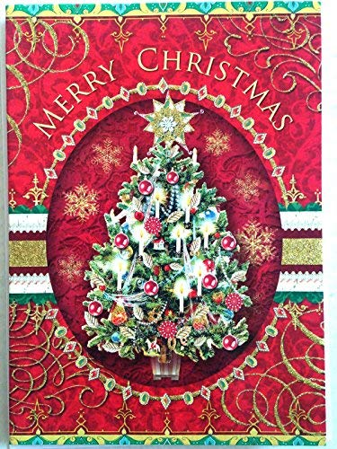 Punch Studio #60801 Victorian Candlel Lit Christmas Tree Greeting Cards, w/ Glitter & Die-cut Layers, Box of 12 (Cards Punch Christmas)